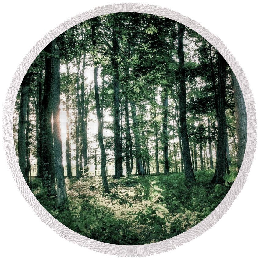 Forest Round Beach Towel featuring the photograph Breaking Through by Todd Blanchard