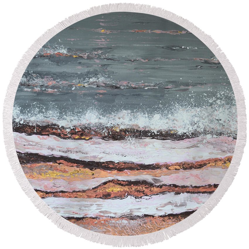 Breaking Waves Painting Round Beach Towel featuring the painting Breaking Waves #3 by Adriana Dziuba