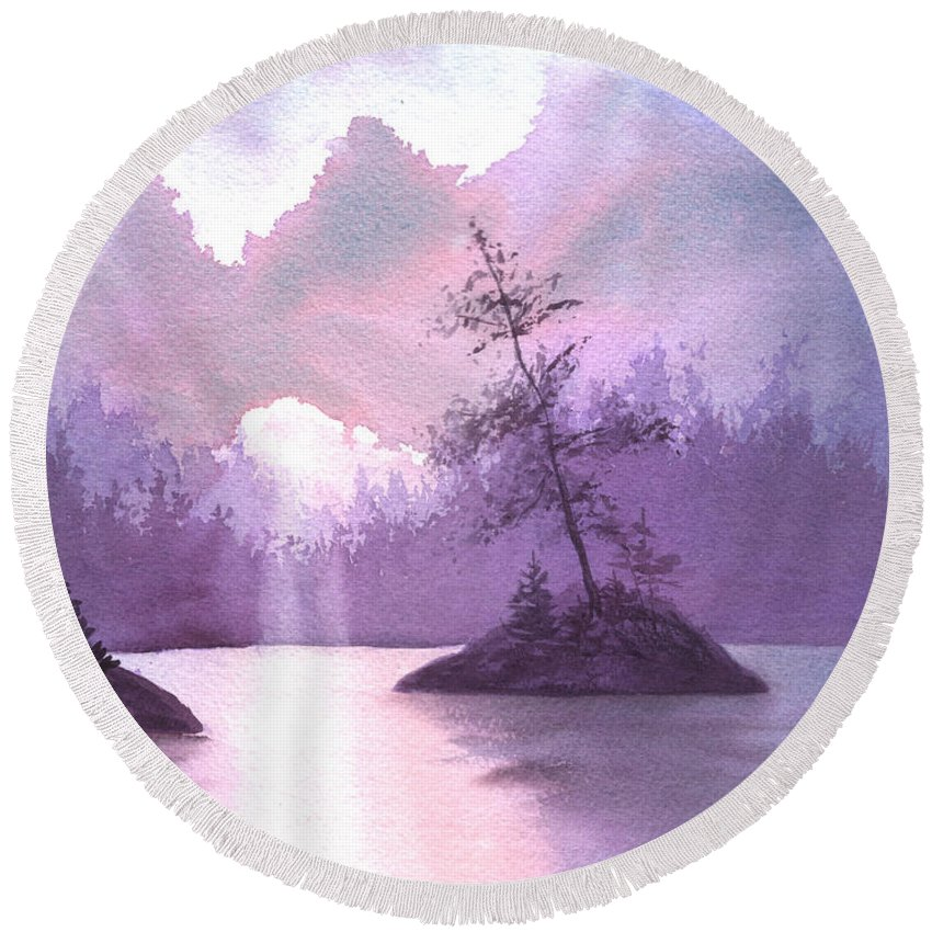 Landscape Round Beach Towel featuring the painting Breakthrough by Lynn Quinn