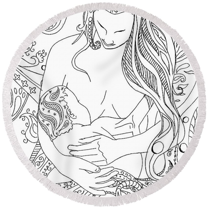 Birth Round Beach Towel featuring the drawing Breastfeeding Is Beautiful by Kate Evans