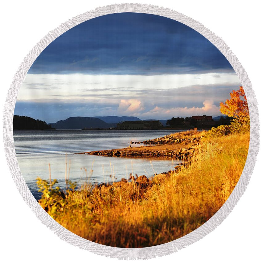 October Round Beach Towel featuring the photograph Breathing The Autumn Air by Randi Grace Nilsberg