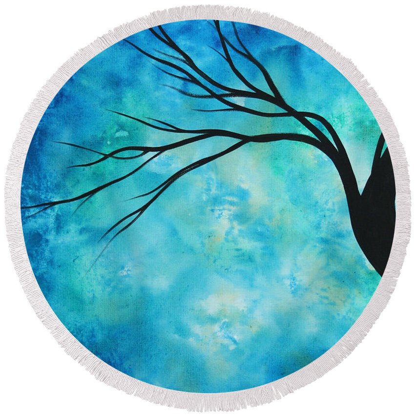 Art Round Beach Towel featuring the painting Breathless 1 By Madart by Megan Duncanson