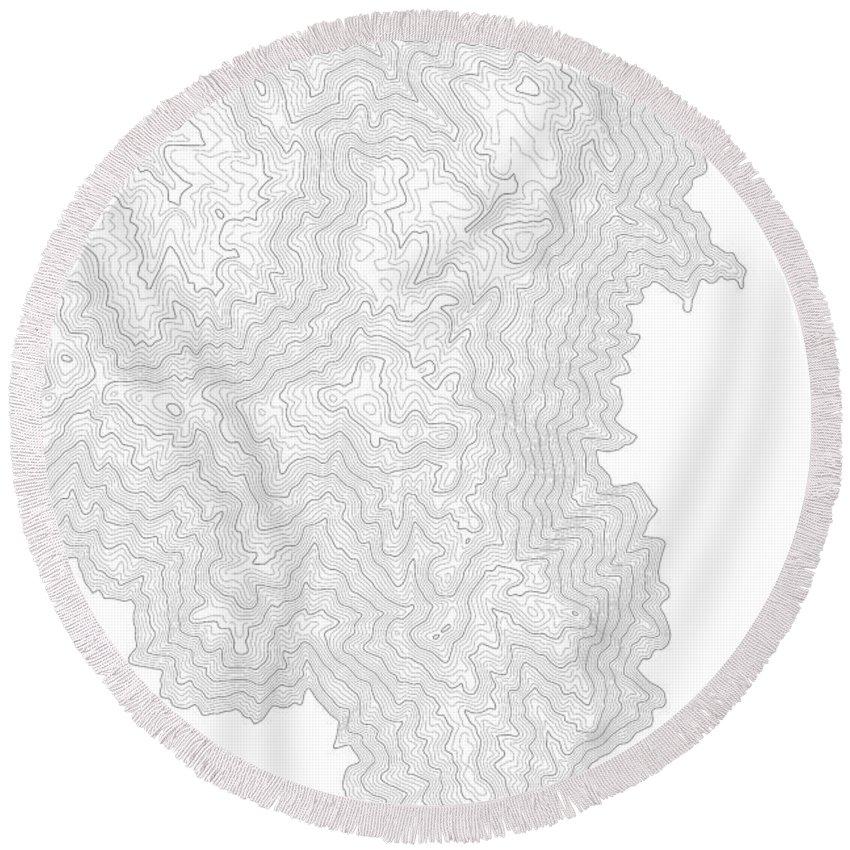 Topo Round Beach Towel featuring the digital art Breckenridge Mountain Art Print Contour Map Of Breckenridge Moun by Jurq Studio