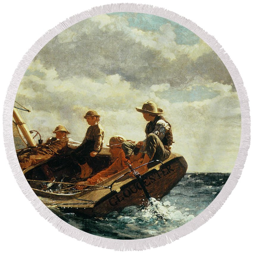 Breezing Up (a Fair Wind) 1873-76 (oil On Canvas) By Winslow Homer (1836-1910)boat Round Beach Towel featuring the painting Breezing Up by Winslow Homer