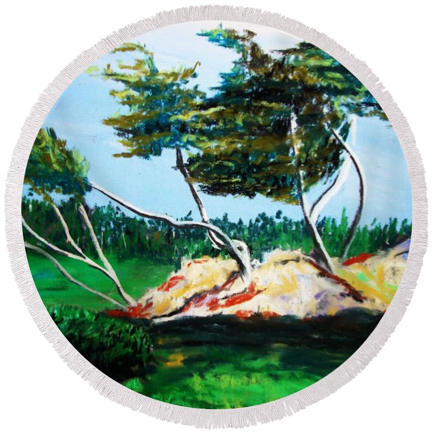 California Round Beach Towel featuring the painting Breezy by Melinda Etzold