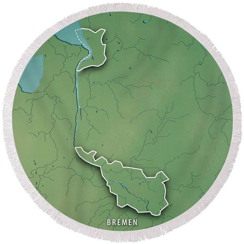 Bremen Round Beach Towel featuring the digital art Bremen Bundesland Germany 3d Render Topographic Map Border by Frank Ramspott