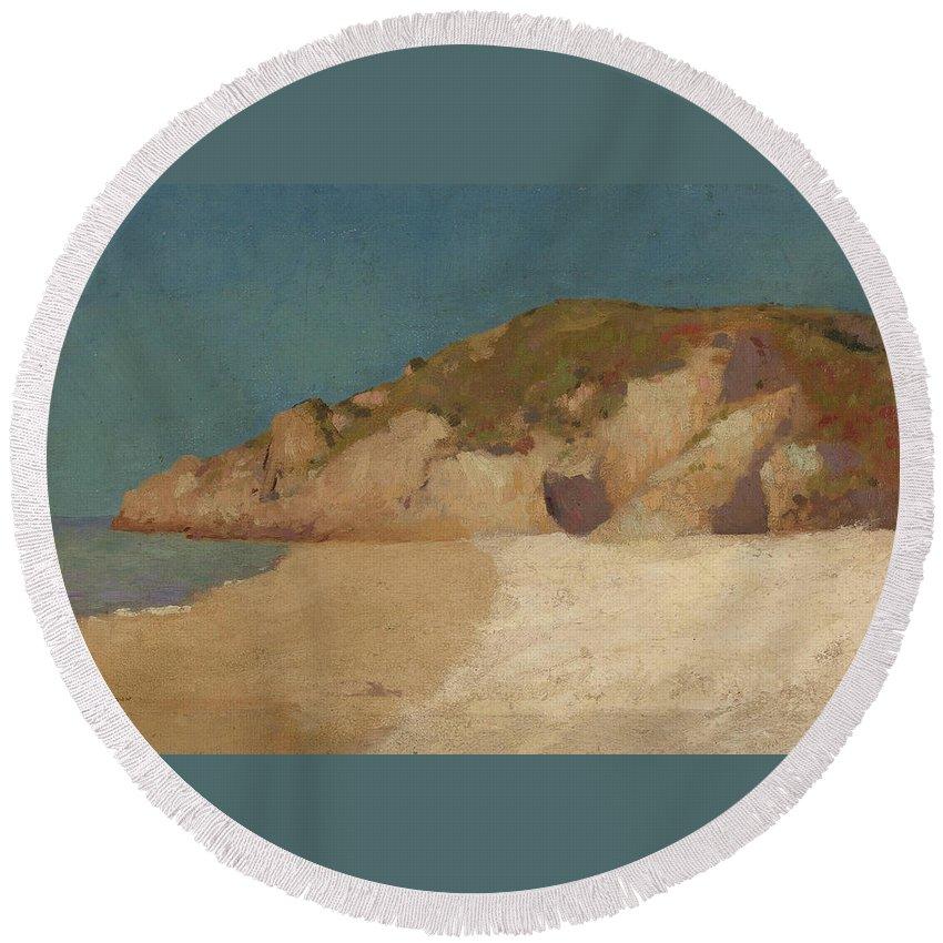 Odilon Round Beach Towel featuring the painting Breton Coastline by Odilon Redon