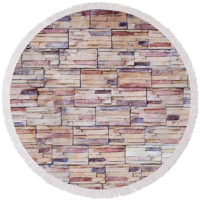 Builder Round Beach Towel featuring the photograph Brick Tiled Wall by John Williams