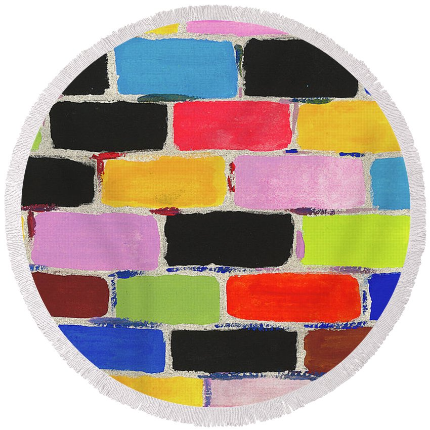 Contemporary Round Beach Towel featuring the painting Bricks Of Life by Bjorn Sjogren