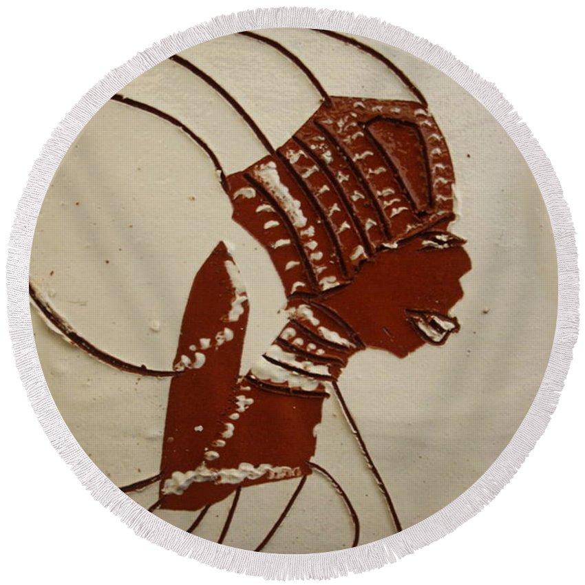 Jesus Round Beach Towel featuring the ceramic art Bride 4 - Tile by Gloria Ssali