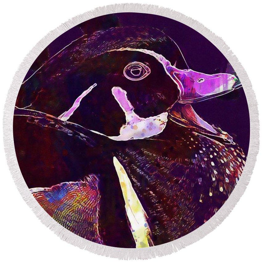 Bride Round Beach Towel featuring the digital art Bride Duck Male Duck Bird by PixBreak Art
