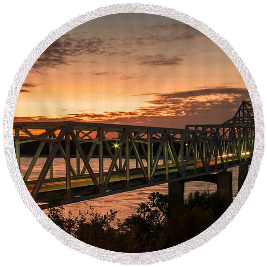 Vicksburg Round Beach Towel featuring the photograph Bridge 8 by Kristopher Bedgood