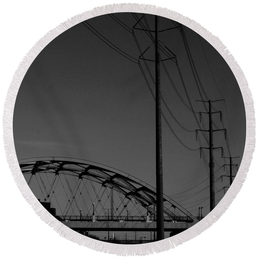 Metal Structures Round Beach Towel featuring the photograph Bridge And Power Poles At Dusk by Angus Hooper Iii