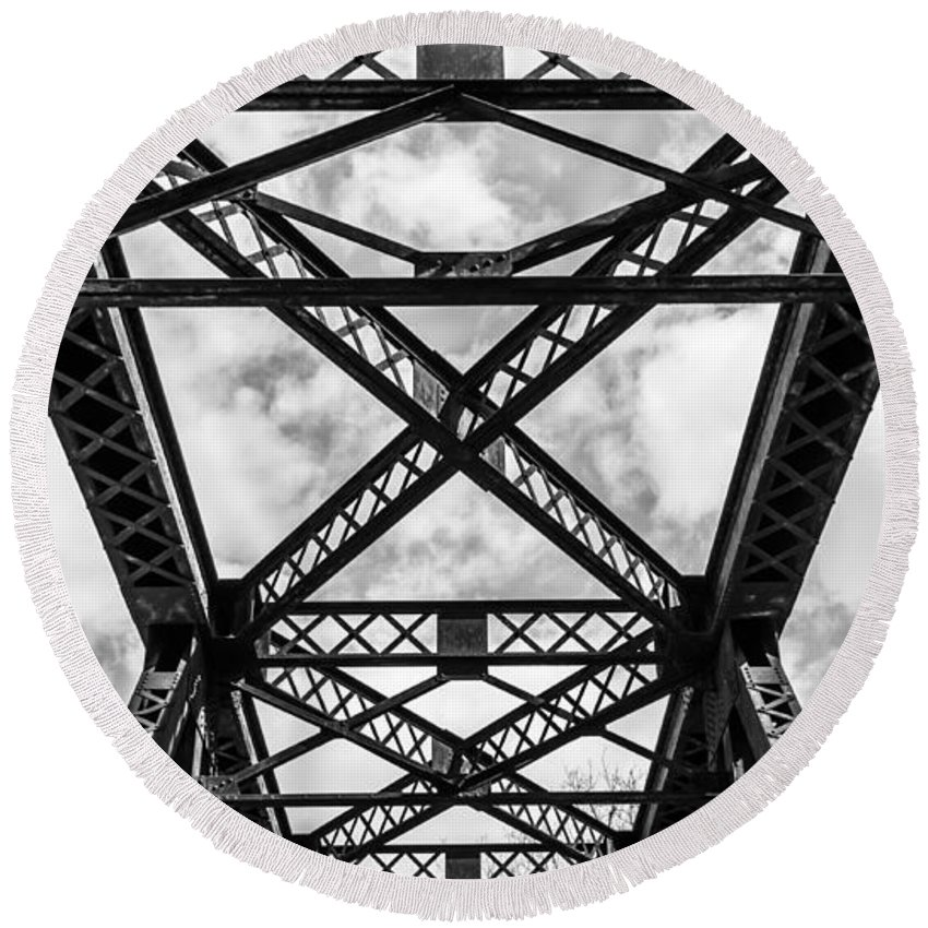Black And White Round Beach Towel featuring the photograph Bridge And Sky by Tim Kirchoff