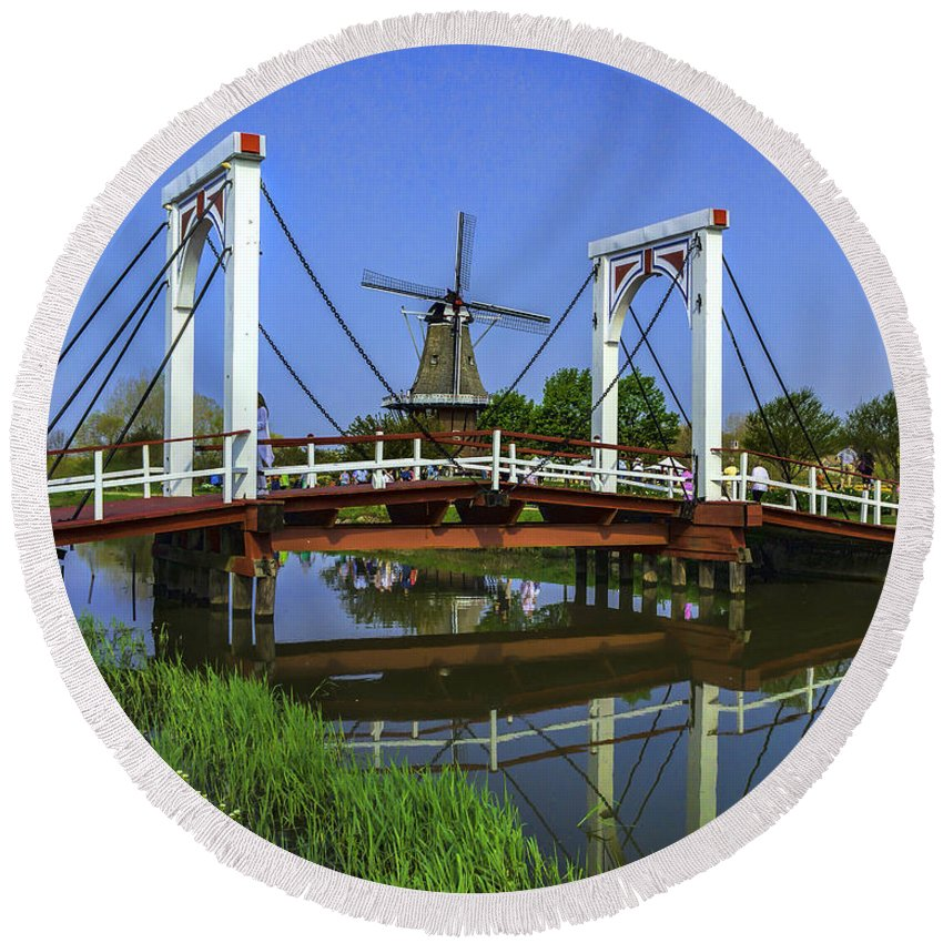Holland Round Beach Towel featuring the photograph Bridge And Windmill by Nick Zelinsky