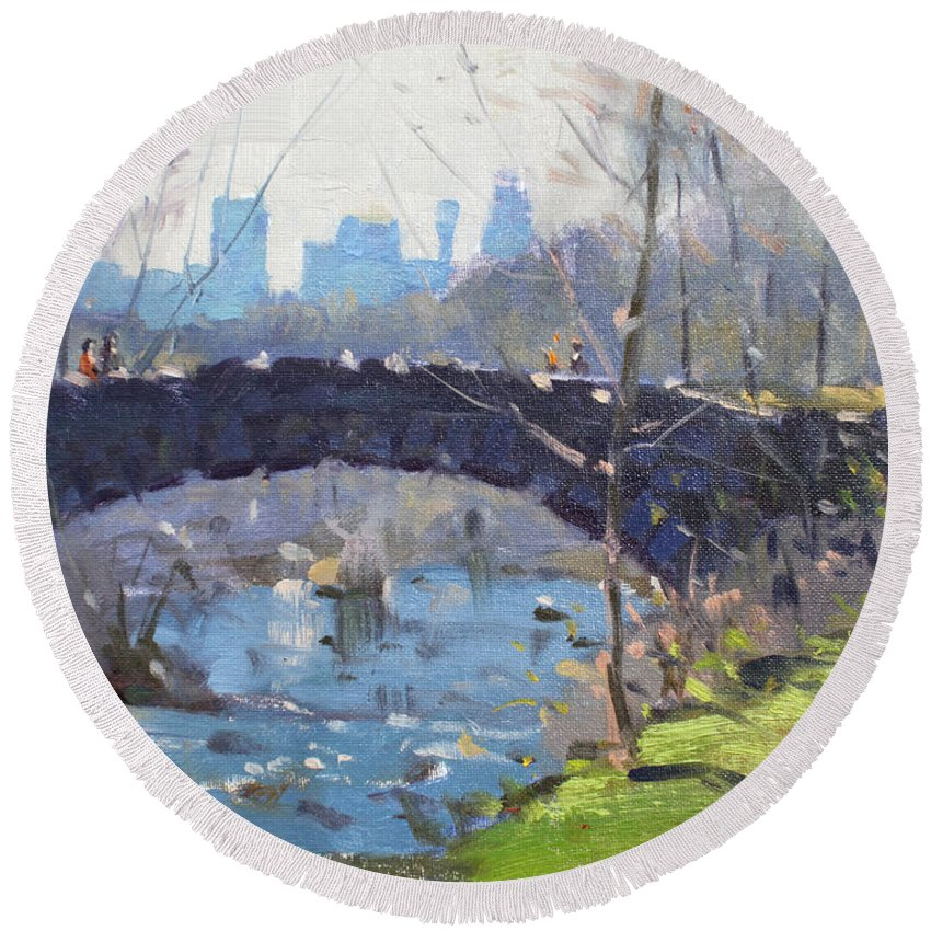 Bridge Round Beach Towel featuring the painting Bridge At Three Sisters Islands by Ylli Haruni