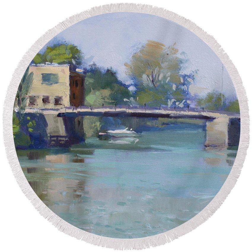 Bridge Round Beach Towel featuring the painting Bridge At Tonawanda Canal by Ylli Haruni
