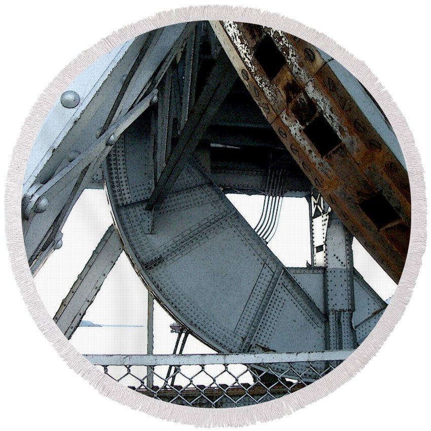 Steel Round Beach Towel featuring the photograph Bridge Gears by Tim Nyberg