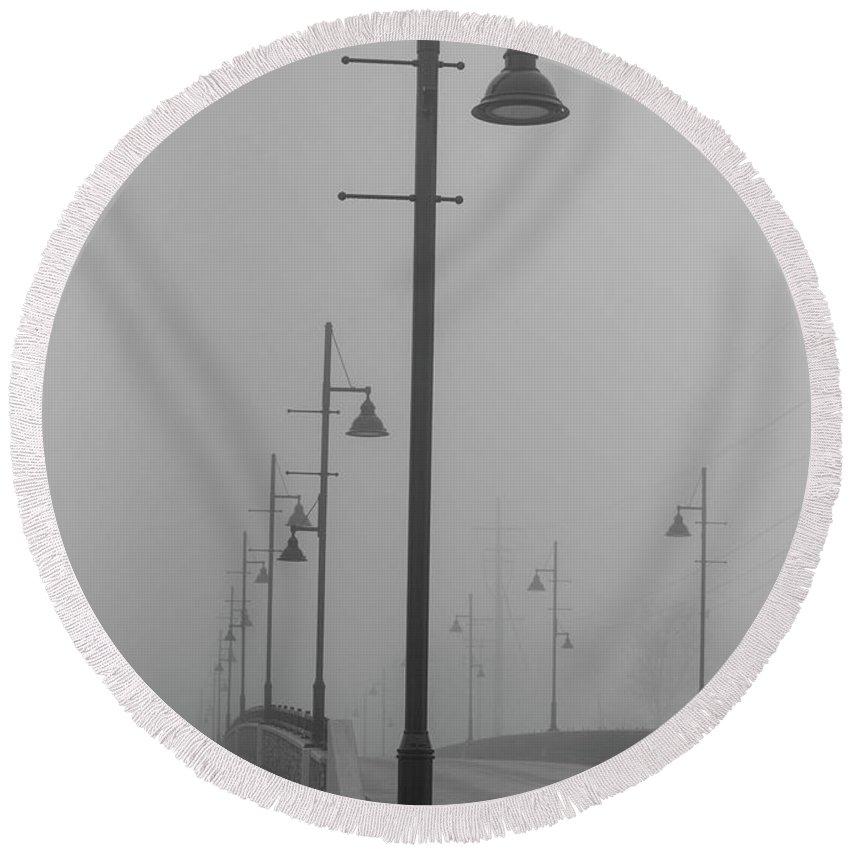 Bridge Round Beach Towel featuring the photograph Bridge In Fog by David Bearden