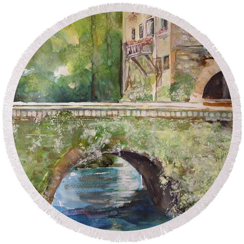 Rock Building Round Beach Towel featuring the painting Bridge In Spain by Robin Miller-Bookhout