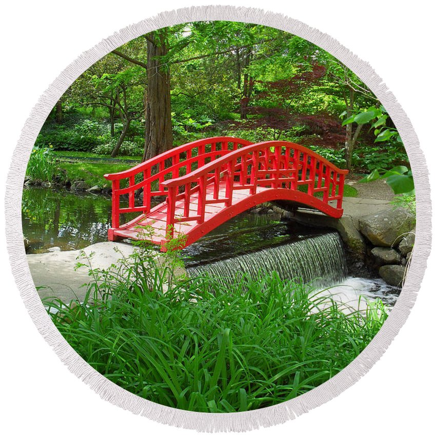 Bridge Round Beach Towel featuring the photograph Bridge In The Woods by Rodney Campbell