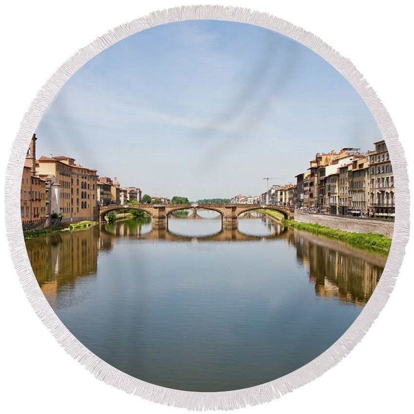 Arno Round Beach Towel featuring the photograph Bridge Over Arno River In Florence Italy by Darryl Brooks