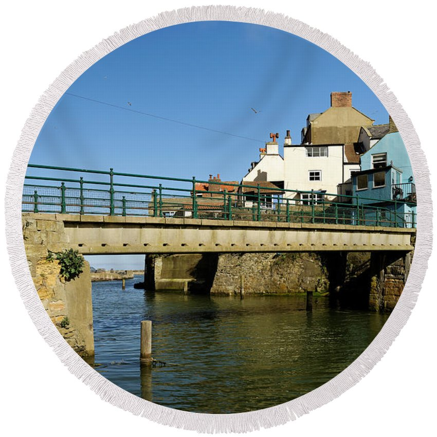 Britain Round Beach Towel featuring the photograph Bridge Over Staithes Beck by Rod Johnson