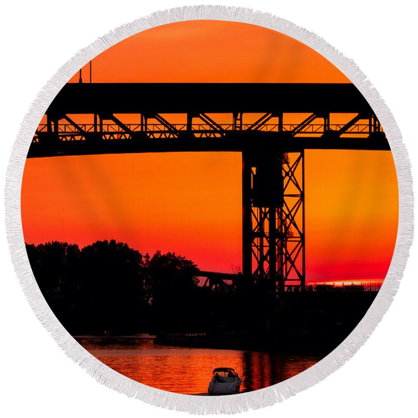 Cleveland Round Beach Towel featuring the photograph Bridge Over Sunset by Kenneth Sponsler