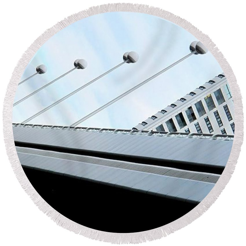 Vienna Round Beach Towel featuring the photograph Bridge Over The Danube by Ian MacDonald