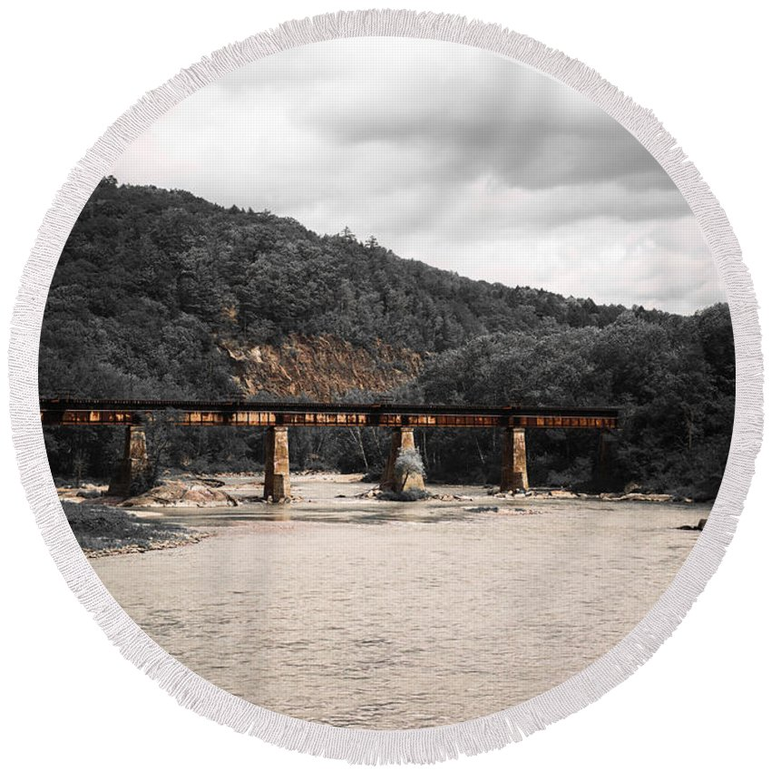 Railroad Bridge Round Beach Towel featuring the photograph Bridge Over The Winooski by Sherman Perry
