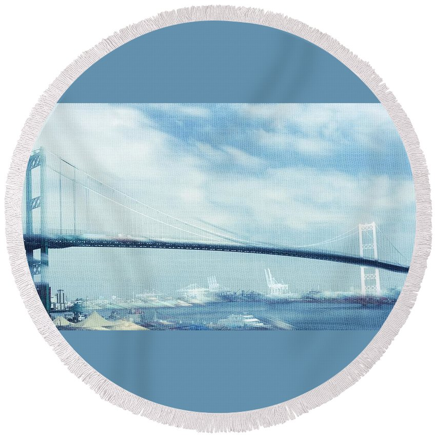 Vincent Thomas Bridge Round Beach Towel featuring the photograph Bridge Over Troubled Waters by Judith Kitzes