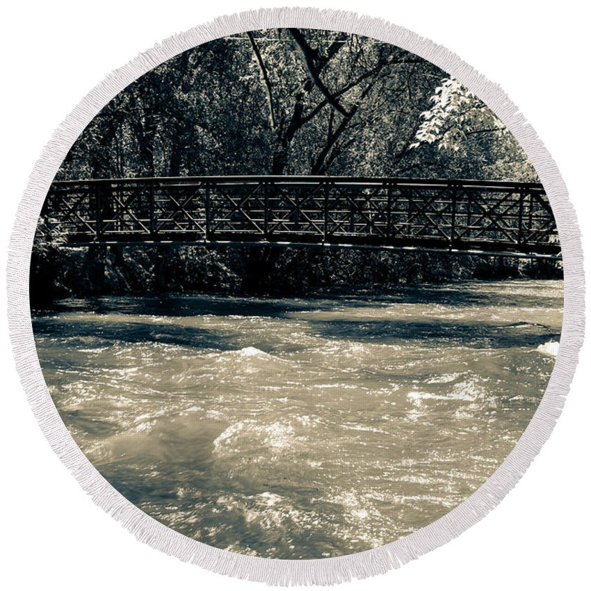 Bridge Round Beach Towel featuring the photograph Bridge Over Water by Adam Baier