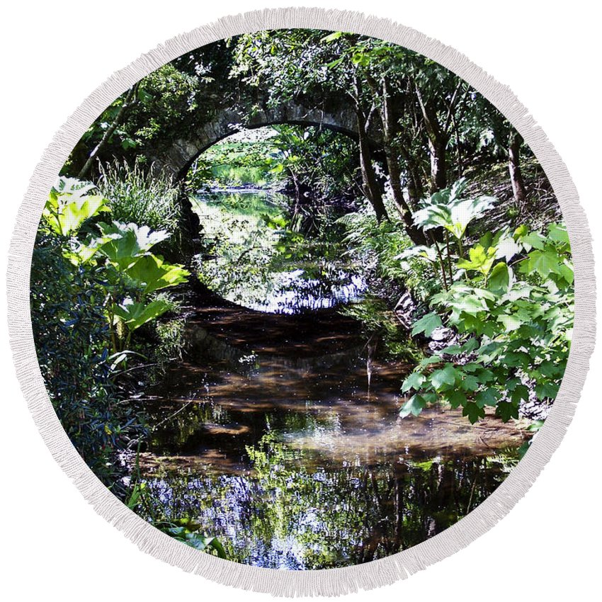 Irish Round Beach Towel featuring the photograph Bridge Reflection At Blarney Caste Ireland by Teresa Mucha