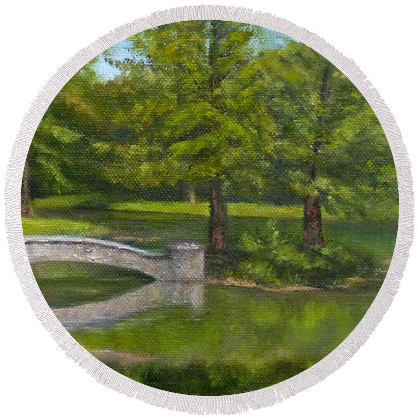 Landscape Round Beach Towel featuring the painting Bridge Reflections by Dawn Tyler