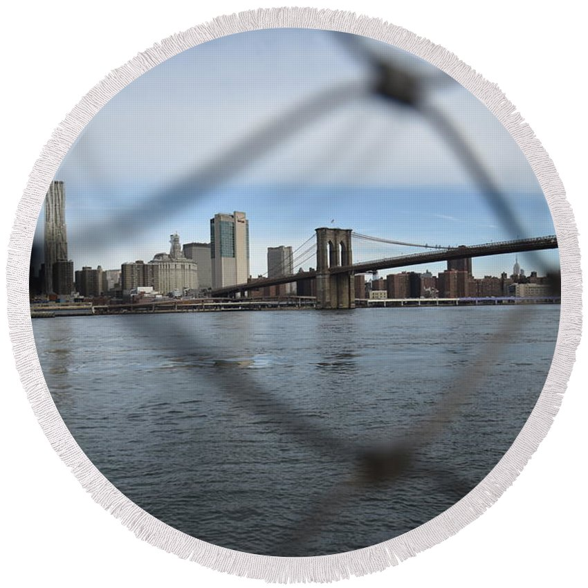 Fences Round Beach Towel featuring the photograph Bridge Through The Fence by Aya Edlin