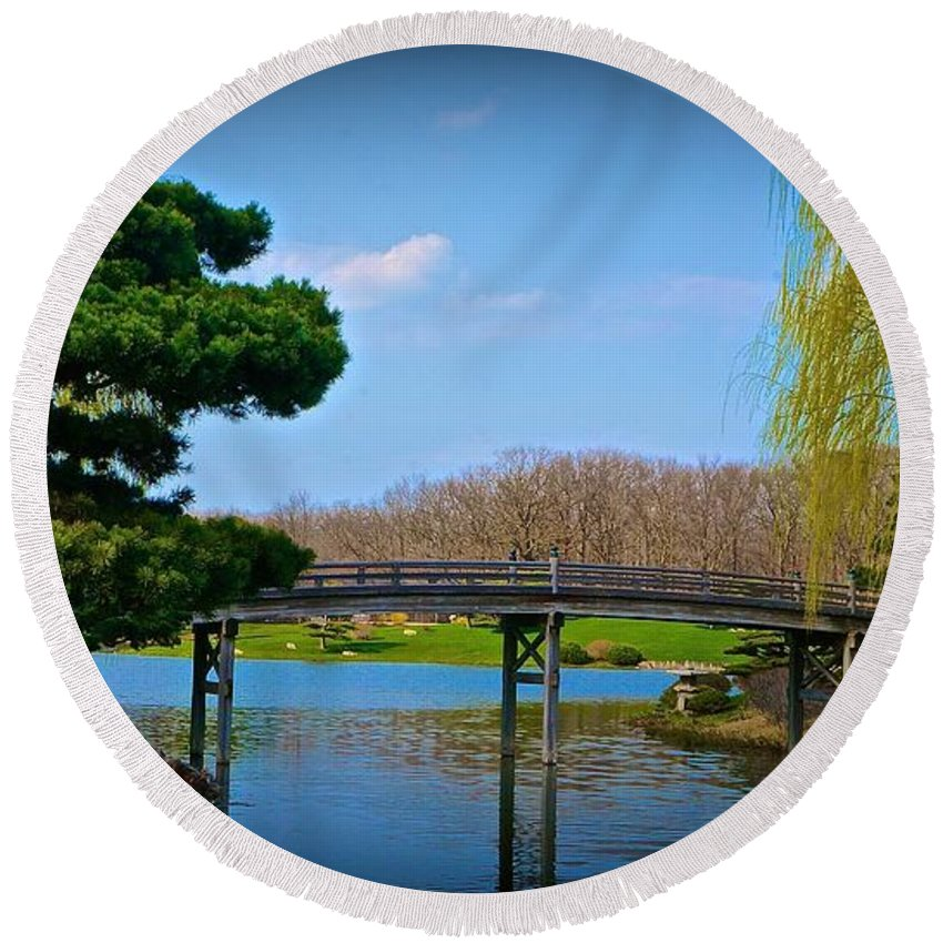 Chicago Botanic Gardens Round Beach Towel featuring the photograph Bridge To 3 Islands by Tim G Ross