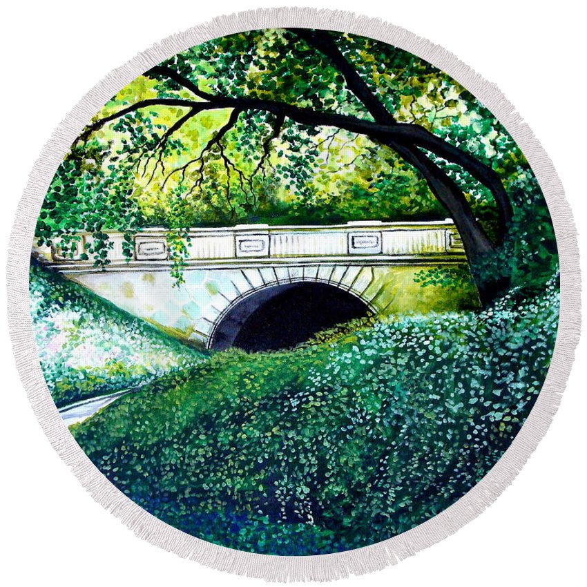 Landscape Round Beach Towel featuring the painting Bridge To New York by Elizabeth Robinette Tyndall
