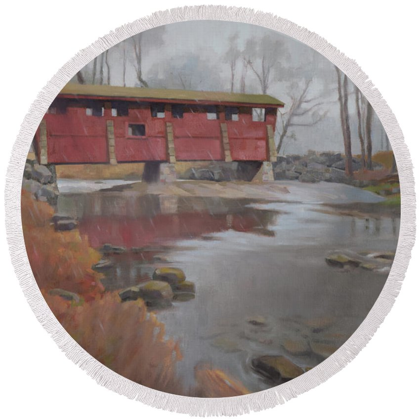 Covered Bridge Round Beach Towel featuring the painting Bridge To Sleepy Hollow by Todd Baxter
