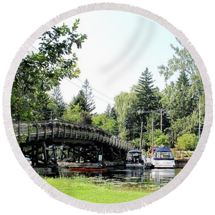 Yahcts Round Beach Towel featuring the photograph Bridge To The Club by Ian MacDonald