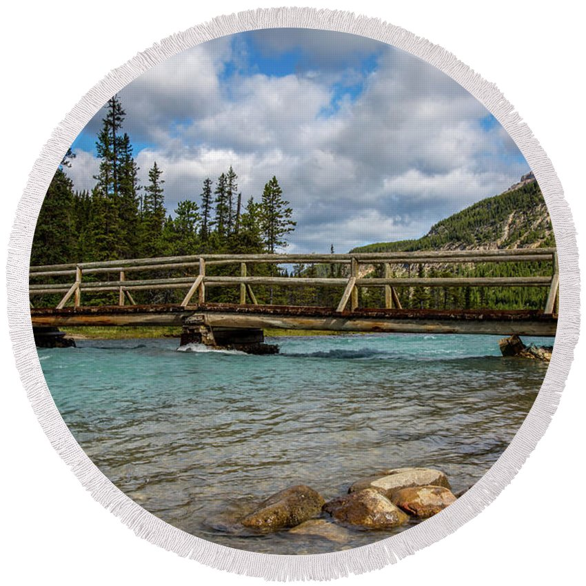 Bridge Round Beach Towel featuring the photograph Bridge To The Other Side by Kathy Whitehurst