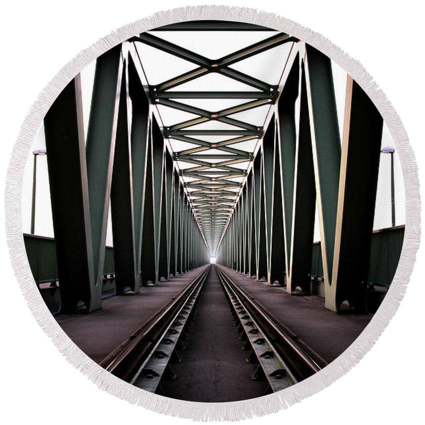 Bridge Round Beach Towel featuring the photograph Bridge by Zoltan Toth