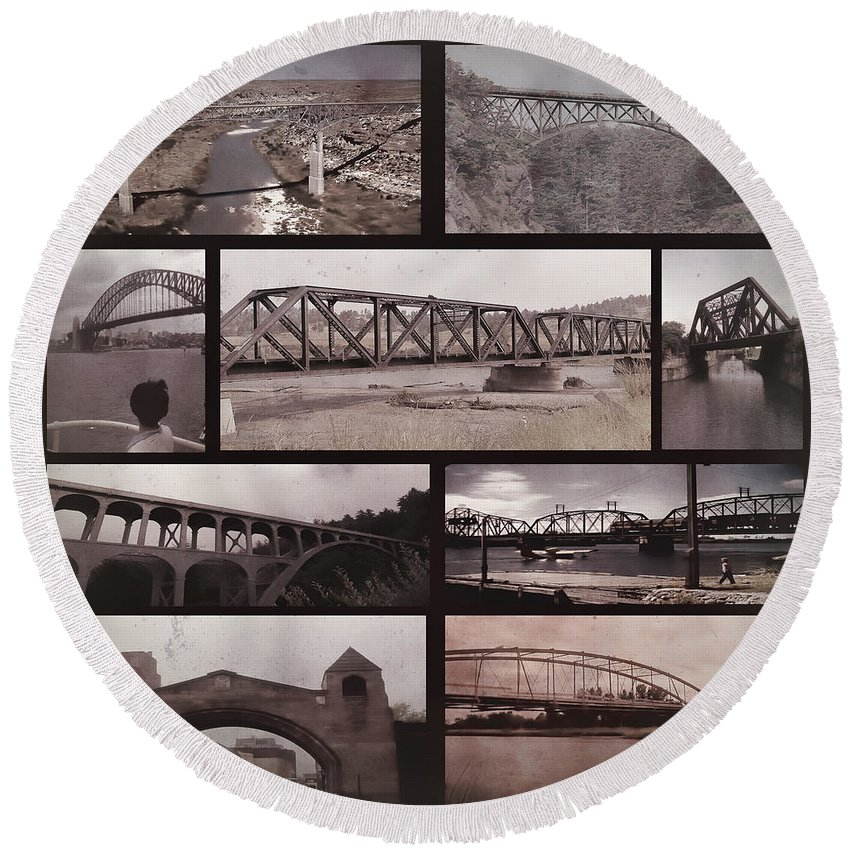 Round Beach Towel featuring the digital art Bridges 2 by Cathy Anderson