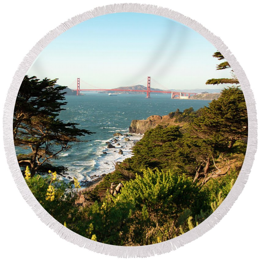 San Francisco Round Beach Towel featuring the photograph Bridging The Gap by Susan Wright