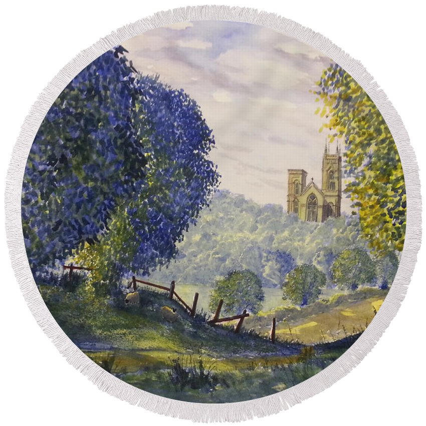 Glenn Marshall Yorkshire Artist Round Beach Towel featuring the painting Bridlington Priory From Woldgate On The Hockney Trail by Glenn Marshall