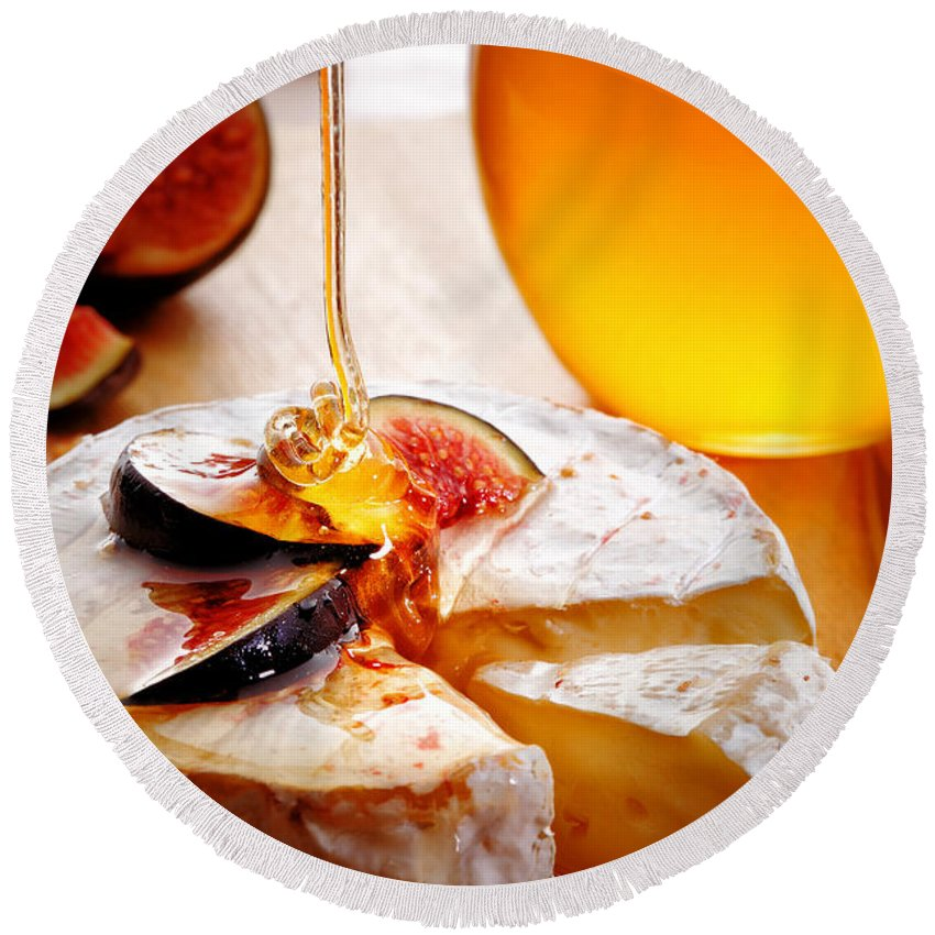Brie Round Beach Towel featuring the photograph Brie Cheese With Figs And Honey by Johan Swanepoel