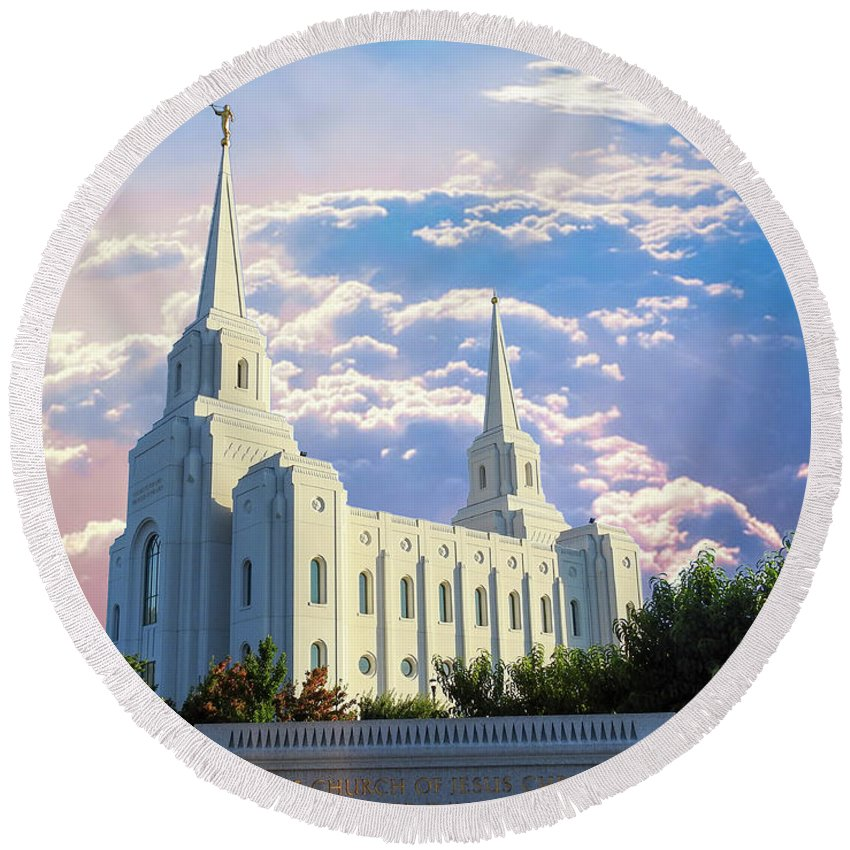Brigham City Utah Temple Lds Mormon Round Beach Towel featuring the photograph Brigham City Utah Temple by Kay Hodges