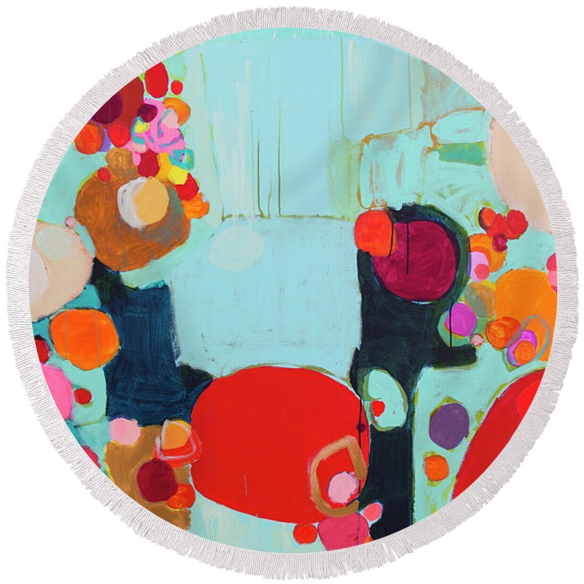 Abstract Round Beach Towel featuring the painting Bright As Quiet by Claire Desjardins