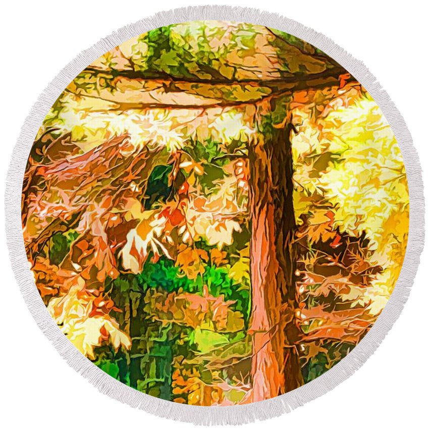 Sunlight Round Beach Towel featuring the painting Bright Colored Leaves On The Branches In The Autumn Forest by Jeelan Clark