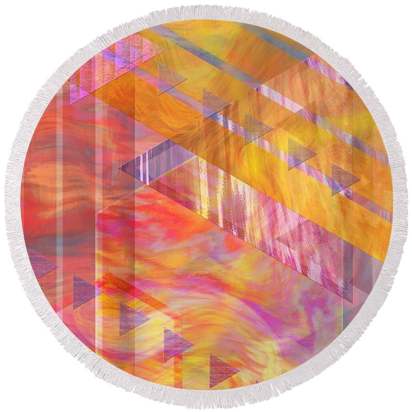 Affordable Art Round Beach Towel featuring the digital art Bright Dawn by John Beck
