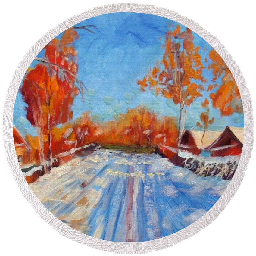 Winter Round Beach Towel featuring the painting Bright Day by Elena Sokolova
